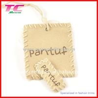Special canvas swing tag with hand stitching edge for quality clothing