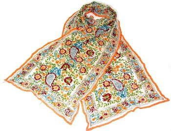 Colorful silk scarf with intricate hand embroidery