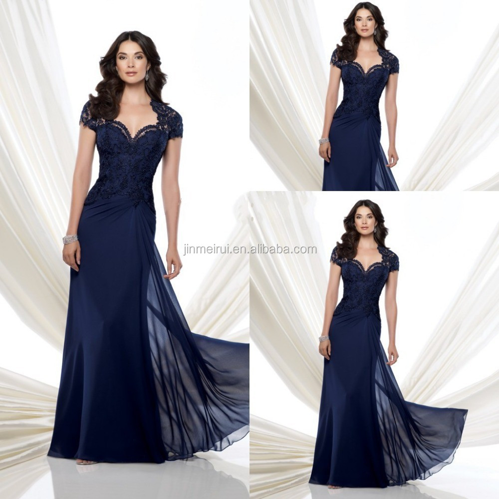 Custom Made 2016 Navy Blue Chiffon Mother Of The Groom Dresses with Short Sleeves Beaded Lace Long Evening Party Gowns
