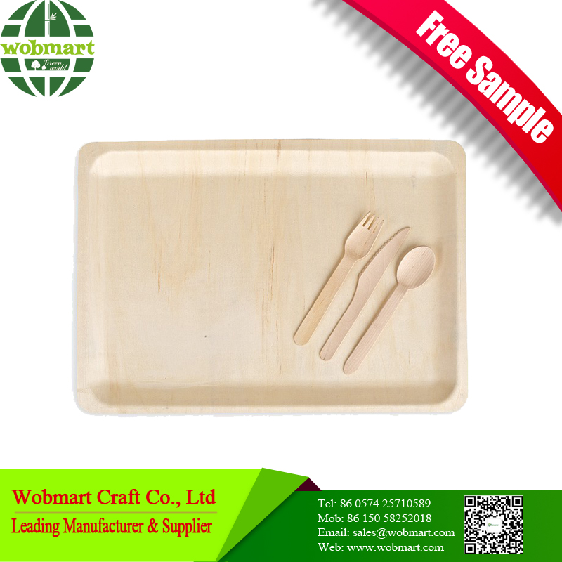 Hot-Sales Food Serving Disposable Wooden Plate