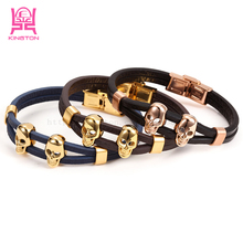Fashion Leather Double Skeleton Skull Charm leather Bracelet For Men Gift Magnet Punk Jewelry 2017 New leather bracelet