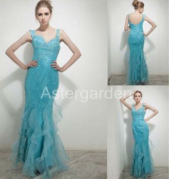 2017 hot astergarden new style mermaid V-neck floor-length rushed organza prom gowns and satin beading evening dresses AS256