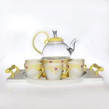Modern fine China pyrex glass porcelain tea cup teapot set with tray
