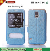 New Arrival Wholesale Bulk Funky Double Window View Microfiber Flip Mobile Phone Case For Samsung Galaxy S5 i9600