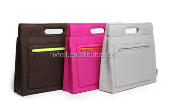 Manufacturer fashion felt laptop bag with big zipper pocket