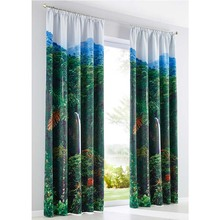 newest curtain design for living room,digital 3D blackout curtains with metal ring