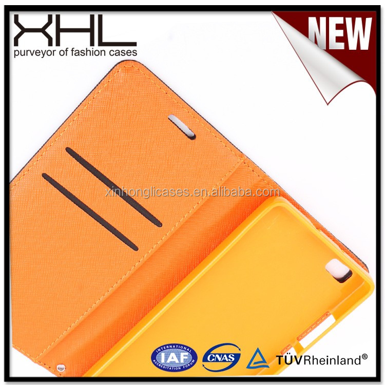 Any models Universal cell phone Leather flip case for huawei p8 lite with card slots