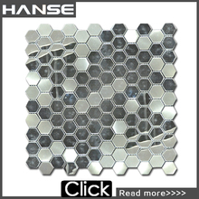 Brushed aluminum mosaic strip metal mosaic/silver foil mosaic/ceramic hexagon tile