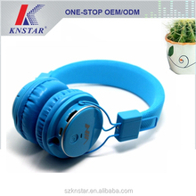 2015 Colorful bluetooth headphone with built in mp3 player and FM radio