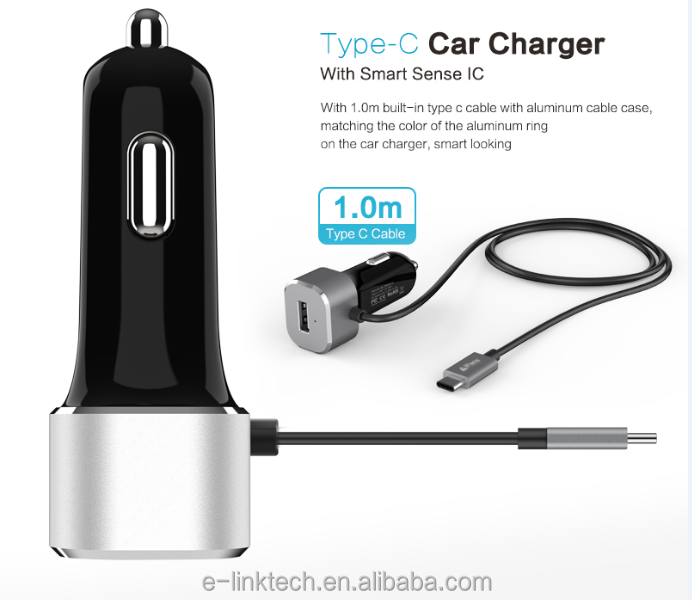 iFans single USB Car Charger with Qualcomm Quick charge 2.0 &3.0 and 1 M type-c connector,with smart IC for high speed charging