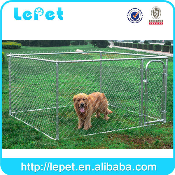Custom logo large outdoor galvanized chain link rolling dog fence dog run kennel