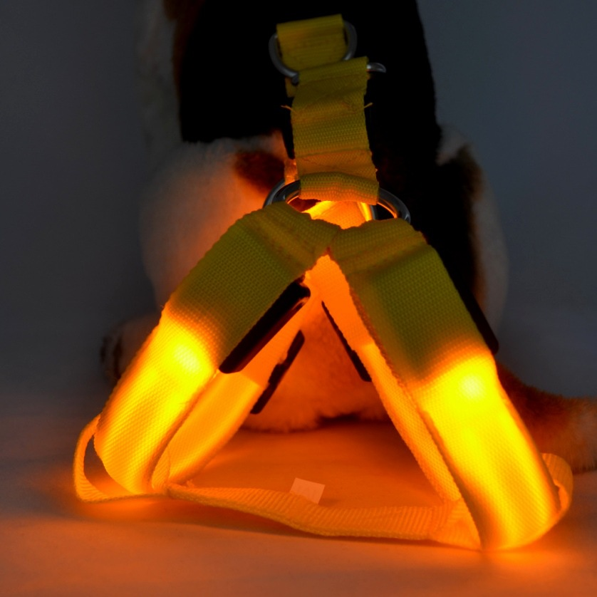 (Top Selling) Soft Outdoor Adventure LED Pet Vest, LED Harness Strap Vest for Dog, LED Flashing Nylon Lights Pet Chest Belt