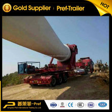Hydraulic steering wind blade lowbed trailer , wind turbine blades trailer for sale