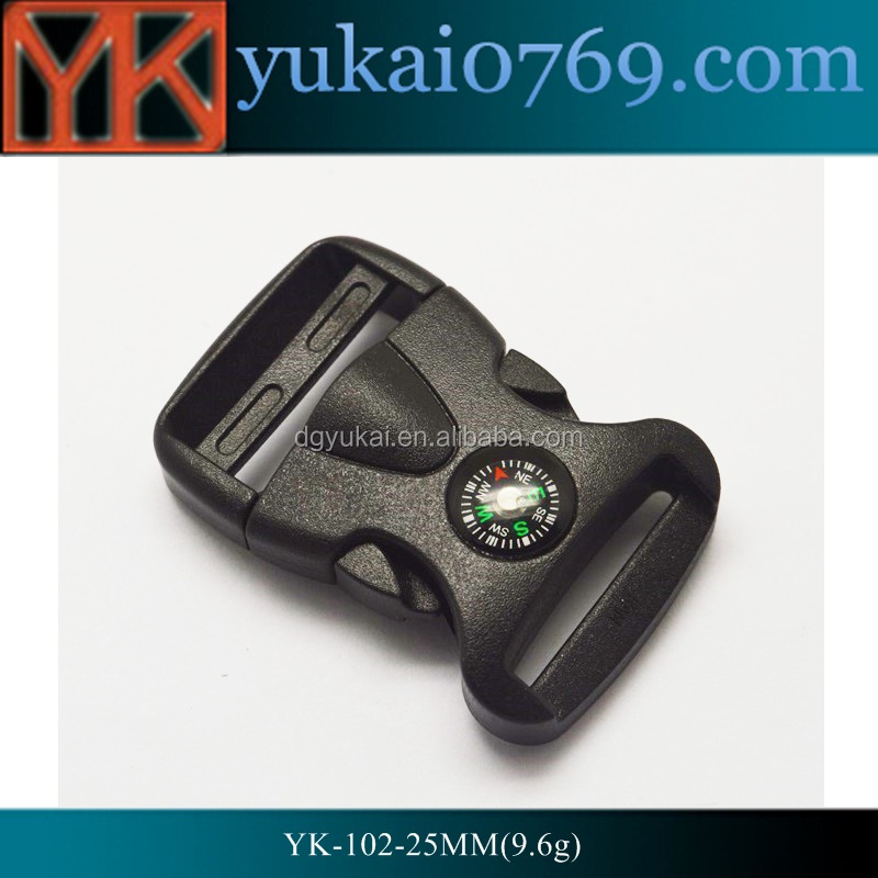 Yukai plastic 25mm width 1inch colorful plastic side release buckle for bags