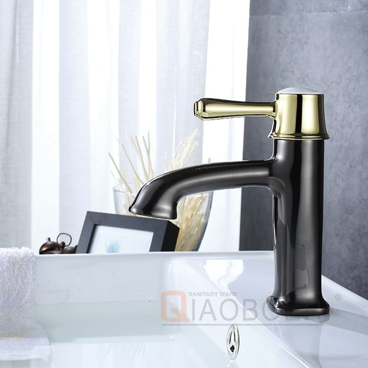 Artistic brass black golden bathroom wash basin water tap faucet, water saver faucet adapter