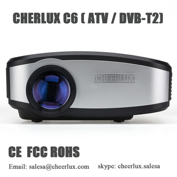 CHEERLUX C6 mini projector 1200 lumens projector built in TV tuner with USB VGA ports