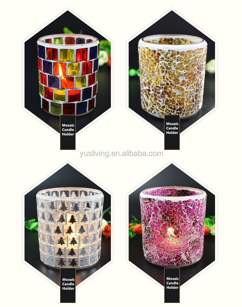 Christmas mosaic glass Candle Holder factory direct price