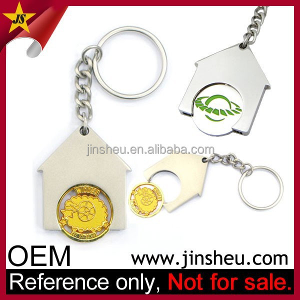 Jin Sheu Wholesale Cheap Custom Logo House Shaped Euro Trolley Keyring