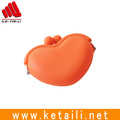 Custom OEM design ladies colorful silicone pocket coin purse with stitched zipper made in China