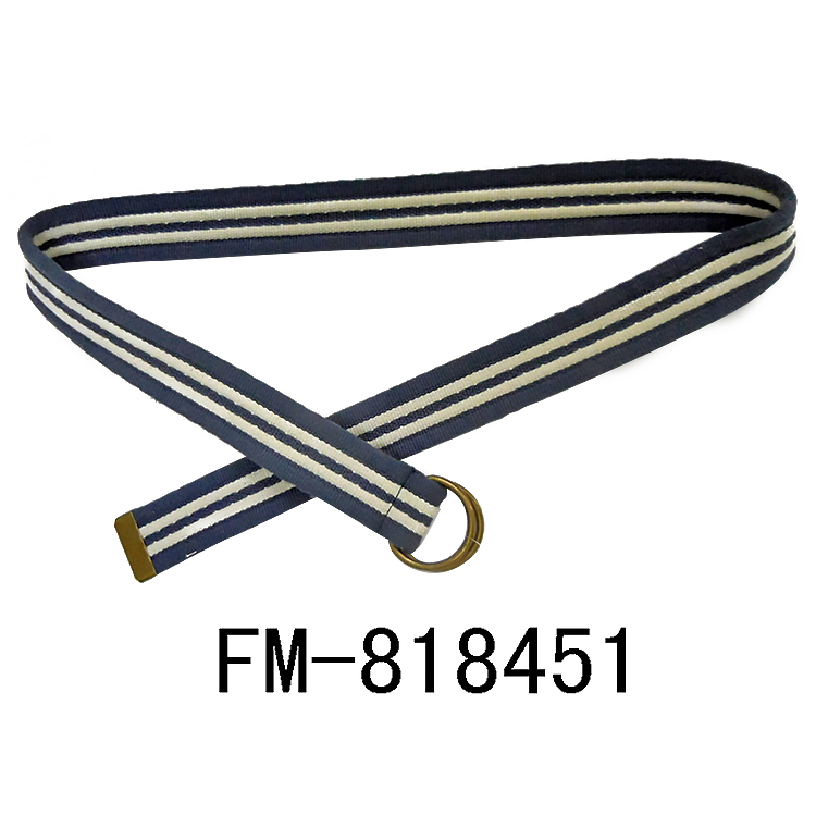 FM brand fashion webbing braided belts custom design cotton fabric belts