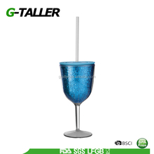 350ml Insulated Plastic Wine Glass Tumbler Drinking Cup With Drink-through Lid And Straw