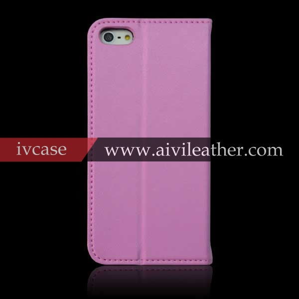 Elegancy Light Pink Full Grain Cowhide Cell Phone Cover For Iphone 5 5s 5c Booklet Leather Case