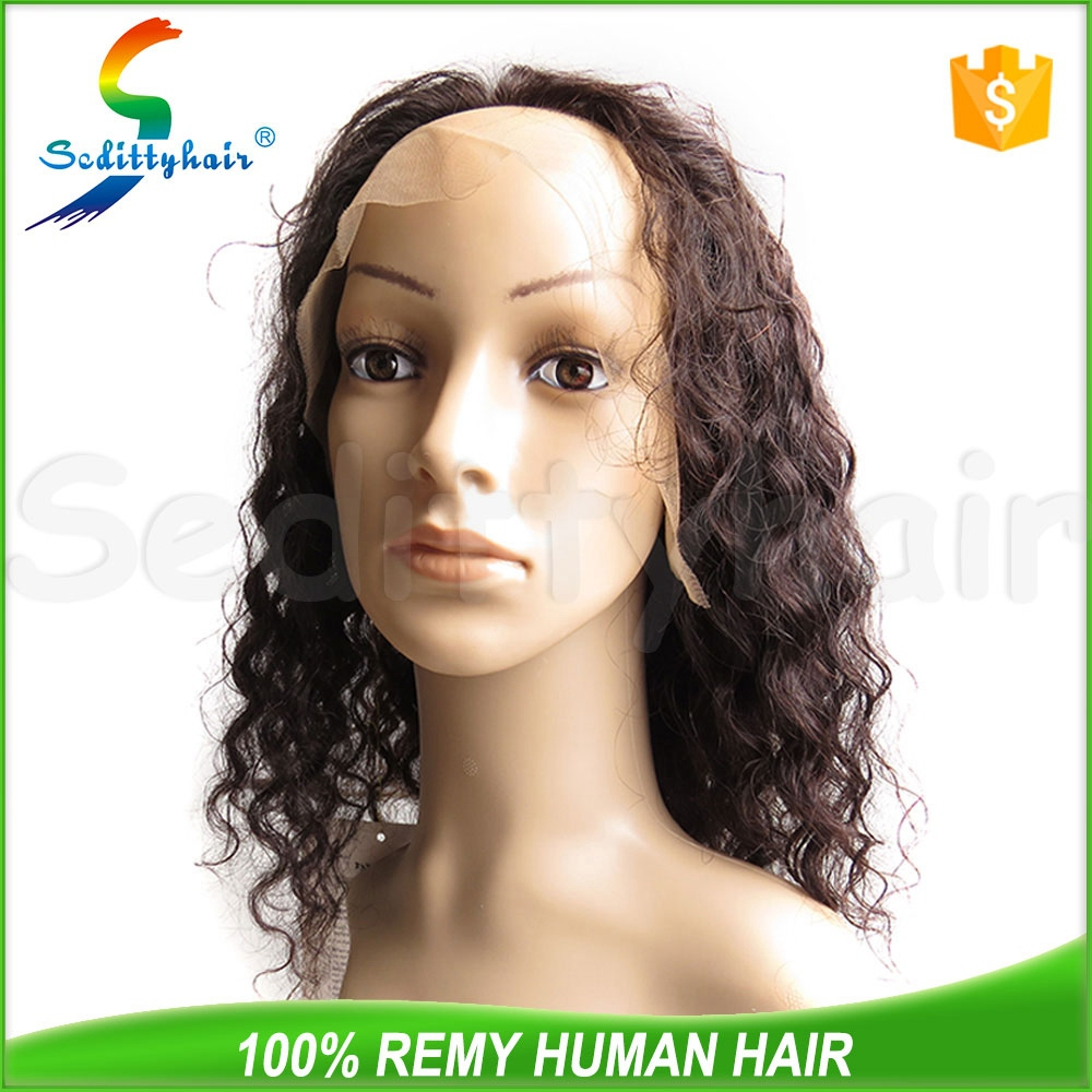 Deep Wave human hair thin skin top lace wig for china sale