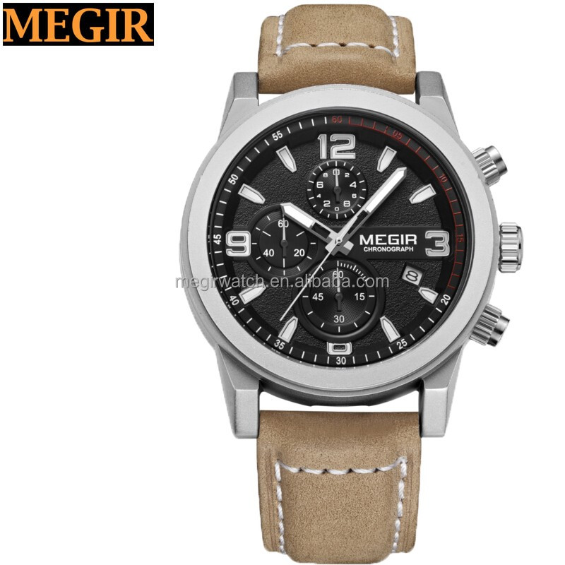 6 hands Stainless steel back watch king quartz chronograph watch