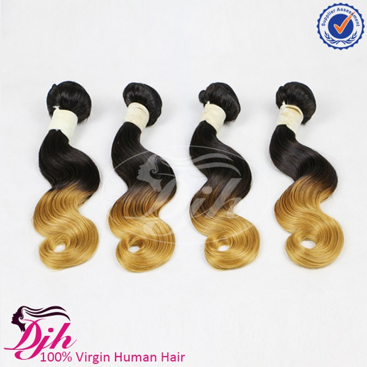 Fashion Virgin Brazilian Body Wave Ombre Hair Extensions Two Tone Ombre Brazilian Hair Weave