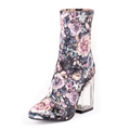 Made-in-china high quality elegant fashion flower printing fabric material crystal heel outdoor boots