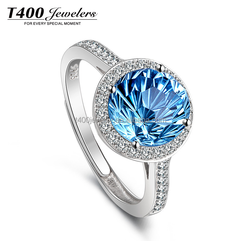 Fantistic!T400 2016 Fashion Jewelry 925 Sterling Silver Rings Natural Topaz and AAA Zircon Ring#4415