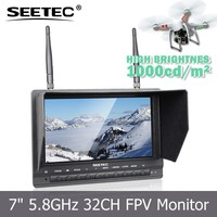 "7"" 1000cdm2 wireless monitor fog screen anti sunlight glare 5.8GHz 32ch receiver li battery sky king mini drone heli controller"