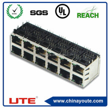 2*6port,with led, with transformer, RJ45 connector