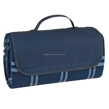 Navy Flap with Navy and White Plaid Picnic Blanket JLD-77031