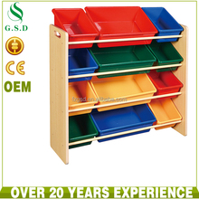 wholesale new design wooden kids toy storage shelf with bin box for sale