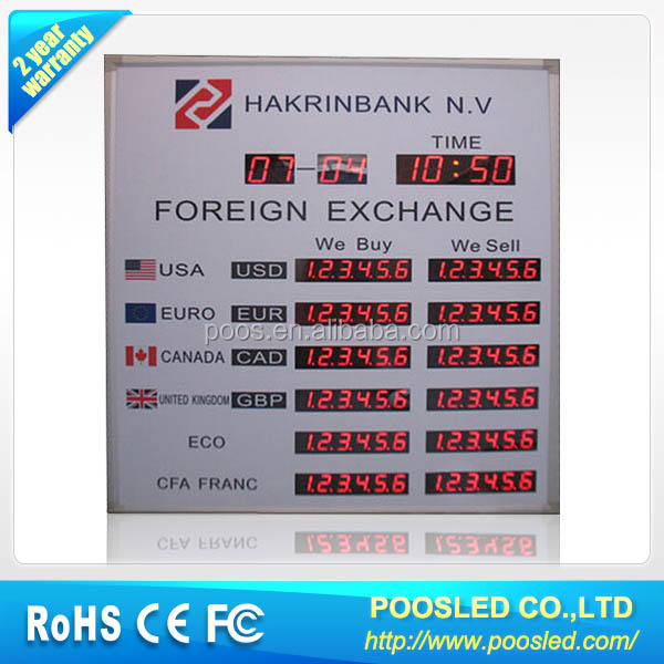 double side led exchange rate display board \ bank exchange panel screen \ exchange bank signage billboard