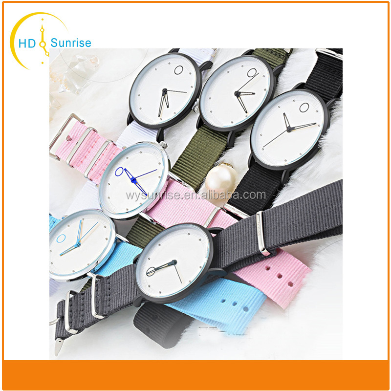 Vintage design alloy simple clean surface nylon leather women watch wholesale All handmade ,fashion women watch