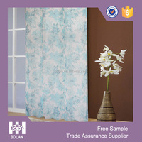 Atlas Printed voile curtain,fashion style looped window curtain(blue flower),curtain design