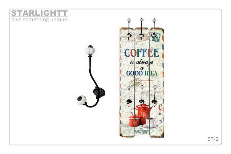 distressed wooden decoupage kitchen wall hanger with one white metal hook