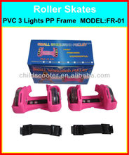 Flashing Roller Skates High Elastic Strap PVC 3 Lights Wheels