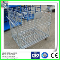 Collapsible and galvanized wire mesh cage/steel cage/steel storage container
