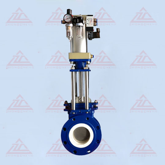 Pneumatic ceramic lined knife gate valve