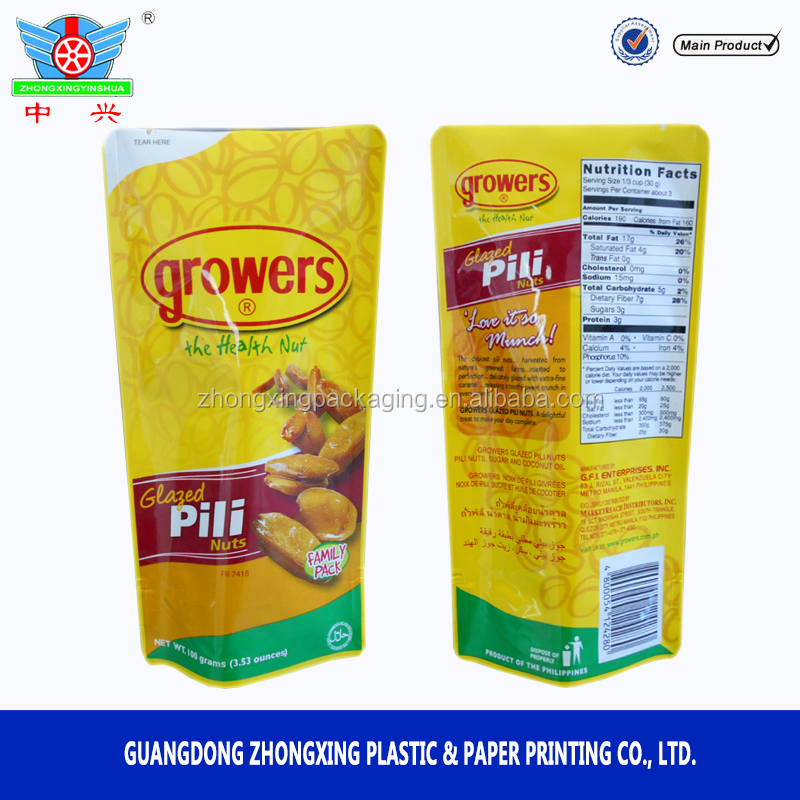 food grade plastic packing food bags for nuts, dried fruit,candy,cereal packaging