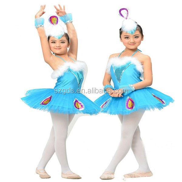 Pure color peacock dance costume children ballet skirts Swan Ballet dance costumes for kids competition wholesale