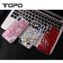 New product Bling love heart stars quicksand TPU PC clear floating liquid glitter cell phone case for iphone X 8 7 6 plus
