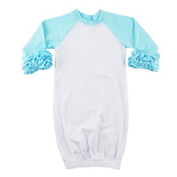 100% Cotton knit unisex white baby onesie with aqua ruffle sleeve wholesale baby clothes romper bodysuit for baby