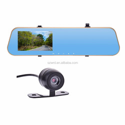 "4.3"" inch rear view mirror car dvr vehicle car camera hd 1080p with dual lens"