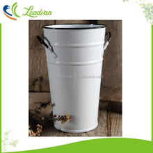 White painted galvanized metal french flower buckets and pails with handles