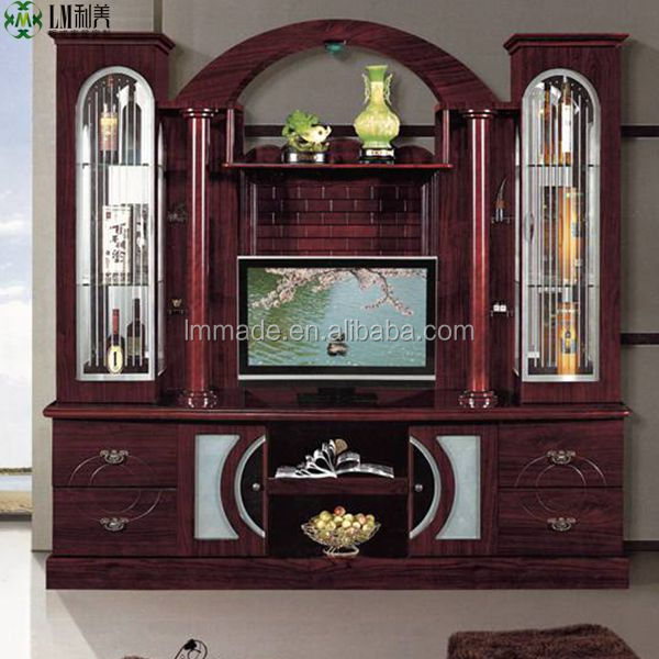 Home furniture led tv wall unit in wooden tv stands 700610