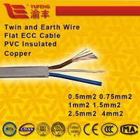Twin and Earth Wire 0.5mm2 0.75mm2 1mm2 1.5mm2 Electric Power Flat ECC Cable